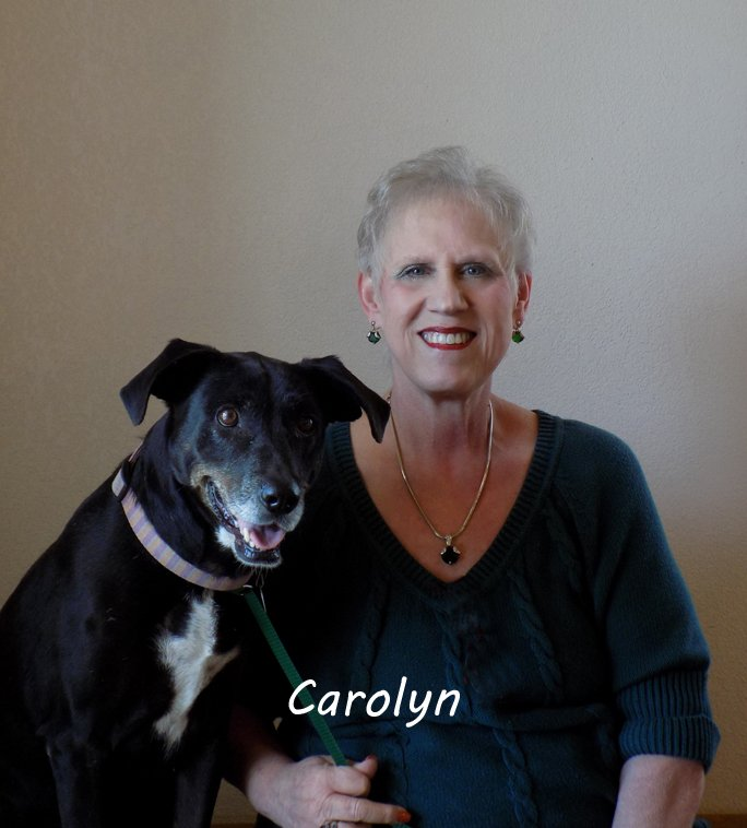 Team member Carolyn sitting next to a large black and white dog